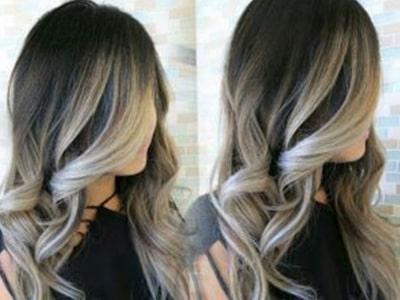 هایلایت روی موی مشکیبا آمبره بلوند